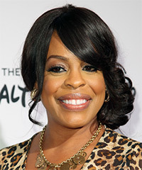 Niecy Nash  Long Curly Formal   Updo Hairstyle with Side Swept Bangs  - Black  Hair Color