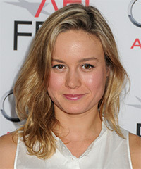 Brie Larson Medium Straight Casual    Hairstyle   - Dark Golden Blonde Hair Color with Light Blonde Highlights