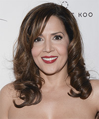 Maria Canals Barrera Long Curly Formal    Hairstyle with Side Swept Bangs  -  Brunette Hair Color with Light Brunette Highlights