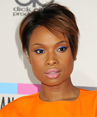 Jennifer Hudson Short Straight Formal    Hairstyle with Side Swept Bangs  - Black Auburn  Hair Color