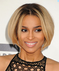 Ciara Short Straight Casual  Bob  Hairstyle   - Dark Blonde Hair Color with Light Blonde Highlights