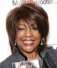 Mary Wilson Short Straight Casual    Hairstyle with Side Swept Bangs  - Dark Chocolate Brunette Hair Color