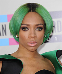 Lil Mama Short Straight Alternative  Bob  Hairstyle   - Green  Hair Color