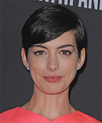 Anne Hathaway Short Straight Formal    Hairstyle with Side Swept Bangs  - Black  Hair Color
