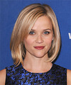 Reese Witherspoon Medium Straight    Strawberry Blonde Bob  Haircut   with Light Blonde Highlights