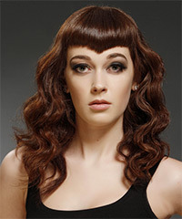 Long Wavy Alternative    Hairstyle with Layered Bangs  -  Chocolate Brunette Hair Color