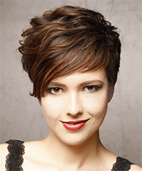 Short Wavy Formal    Hairstyle   - Dark Brunette Hair Color with Light Brunette Highlights