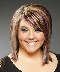 Medium Straight Formal    Hairstyle with Side Swept Bangs  -  Caramel Brunette Hair Color with Purple Highlights