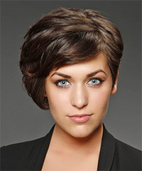 Short Straight Formal  Asymmetrical  Hairstyle   - Chocolate Hair Color