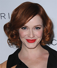 Christina Hendricks Short Curly   Dark Copper Red   Hairstyle