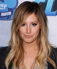 Ashley Tisdale Long Straight Casual    Hairstyle   -  Chestnut Brunette Hair Color with  Blonde Highlights