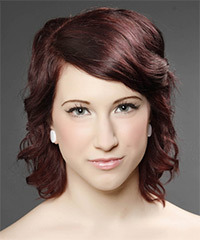 Medium Wavy Casual    Hairstyle with Side Swept Bangs  - Dark Burgundy Red Hair Color