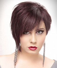Short Straight Alternative  Asymmetrical  Hairstyle   - Dark Plum Red Hair Color