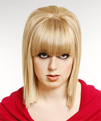Medium Straight Formal    Hairstyle with Blunt Cut Bangs  - Light Blonde Hair Color with Light Blonde Highlights