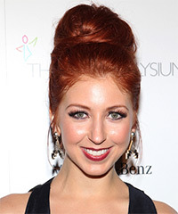 Morgan Smith Goodwin  Long Straight Formal   Updo Hairstyle   -  Bright Red Hair Color