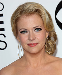 Melissa Joan Hart  Long Curly Formal   Updo Hairstyle   -  Golden Blonde Hair Color with Light Blonde Highlights