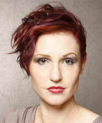 Short Wavy Casual    Hairstyle   -  Red Hair Color with Dark Red Highlights