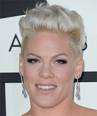 Pink Short Straight Casual  Undercut  Hairstyle   - Light Platinum Blonde Hair Color