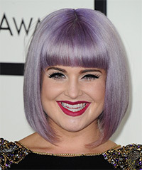 Kelly Osbourne Medium Straight Formal  Bob  Hairstyle with Blunt Cut Bangs  - Purple  Hair Color