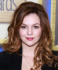 Amber Tamblyn Long Wavy Casual    Hairstyle   -  Chestnut Brunette Hair Color with Light Brunette Highlights