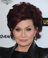 Sharon Osbourne Short Straight   Dark Burgundy Red   Hairstyle