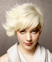 Short Straight Alternative  Asymmetrical  Hairstyle   - Platinum Hair Color