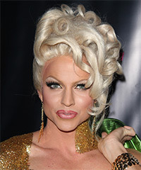 Courtney Act  Long Curly Formal   Updo Hairstyle   - Light Platinum Blonde Hair Color
