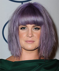 Kelly Osbourne Medium Straight Casual    Hairstyle with Blunt Cut Bangs  - Purple  Hair Color