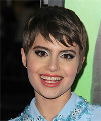 Sami Gayle Short Straight Casual Layered Pixie  Hairstyle with Side Swept Bangs  -  Ash Brunette Hair Color