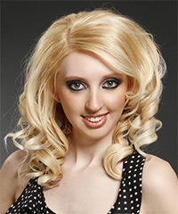 Medium Curly Formal    Hairstyle with Side Swept Bangs  - Light Honey Blonde Hair Color with Light Blonde Highlights