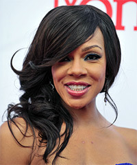 Wendy Raquel Robinson  Long Curly Formal   Half Up Hairstyle   - Black  Hair Color