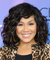 Erica Campbell Medium Curly Formal    Hairstyle   - Black  Hair Color with  Brunette Highlights