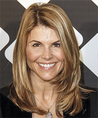 Lori Loughlin Long Straight Casual    Hairstyle   - Light Ash Brunette Hair Color with Light Blonde Highlights
