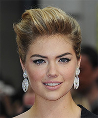 Kate Upton  Long Straight Formal   Updo Hairstyle   - Dark Golden Blonde Hair Color