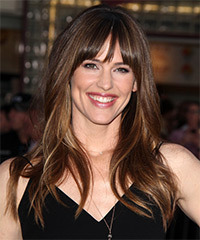 Jennifer Garner Long Straight    Brunette   Hairstyle with Layered Bangs  and Dark Blonde Highlights