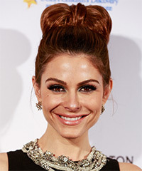 Maria Menounos  Long Straight Formal   Updo Hairstyle   -  Mahogany Red Hair Color