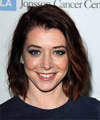 Alyson Hannigan Medium Wavy Casual    Hairstyle   - Dark Red Hair Color
