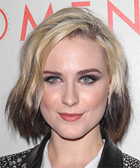 Evan Rachel Wood Medium Straight Casual    Hairstyle   - Light Blonde and Dark Brunette Two-Tone Hair Color