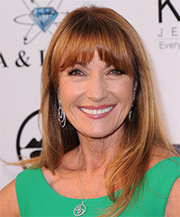 Jane Seymour Long Straight Casual    Hairstyle with Blunt Cut Bangs  -  Copper Red Hair Color