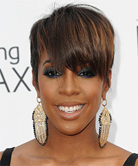 Kelly Rowland Short Straight Formal    Hairstyle with Layered Bangs  -  Brunette Hair Color