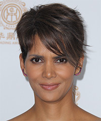 Halle Berry Short Straight Formal    Hairstyle   - Dark Brunette Hair Color