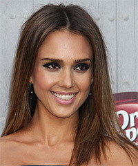 Jessica Alba Long Straight    Brunette   Hairstyle