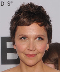 Maggie Gyllenhaal Short Straight Casual    Hairstyle with Side Swept Bangs  -  Brunette Hair Color