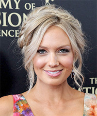 Melissa Ordway  Long Curly Casual  Braided Updo Hairstyle   - Light Champagne Blonde Hair Color