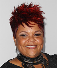 Tamela J Mann Short Straight Casual    Hairstyle   - Dark Red Hair Color