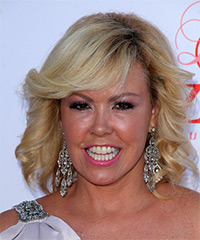 Mary Murphy Medium Curly Formal    Hairstyle with Side Swept Bangs  -  Blonde Hair Color