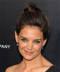 Katie Holmes  Long Straight Casual   Updo Hairstyle   - Dark Brunette Hair Color