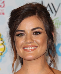Lucy Hale  Long Curly Formal   Updo Hairstyle   - Dark Mocha Brunette Hair Color