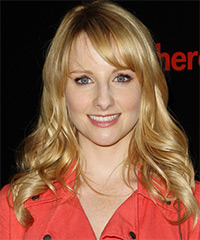 Melissa Rauch Long Wavy Casual    Hairstyle with Side Swept Bangs  -  Golden Blonde Hair Color