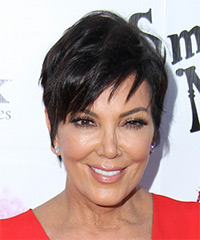Kris Jenner Short Straight Casual    Hairstyle   - Dark Brunette Hair Color
